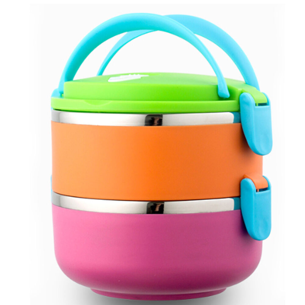 abk outdoor lunch box stainless steel food 2 container insulated thermal bento p ebay. Black Bedroom Furniture Sets. Home Design Ideas