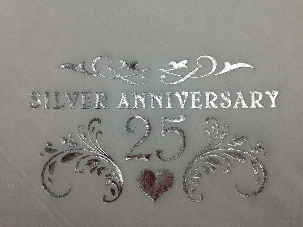 Silver 25th Wedding Anniversary: 18 X SILVER 25TH WEDDING ANNIVERSARY WHITE 2PLY BUFFET