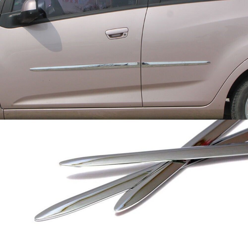 side chrome door garnish molding trim sill 4p for 2010 2012 chevy spark matiz ebay. Black Bedroom Furniture Sets. Home Design Ideas