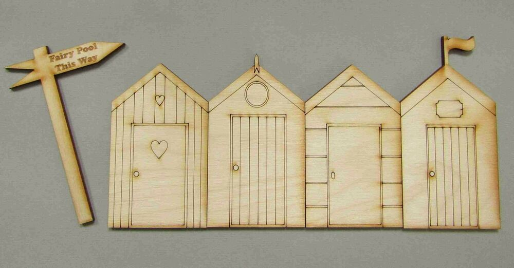 5 pc pack of summer hols beach hut fairy doors 3mm laser for Unfinished fairy door