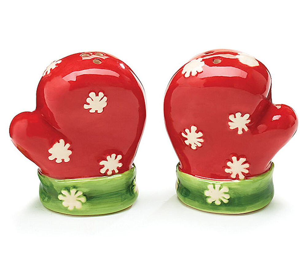new mittens salt pepper shakers red ceramic white snowflakes burton burton ebay. Black Bedroom Furniture Sets. Home Design Ideas