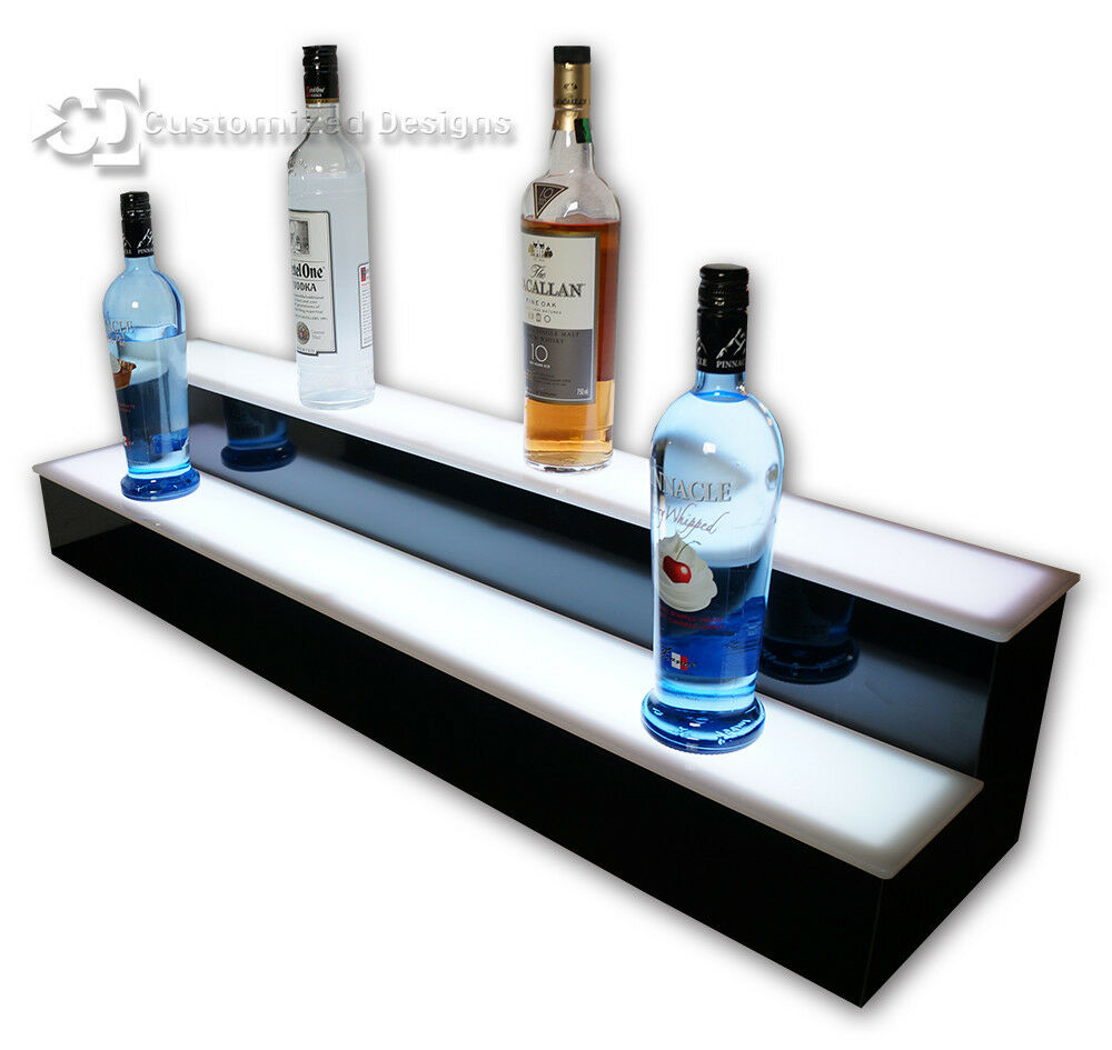 44 Quot 2 Tiers Led Lighted Liquor Bottle Display Back Bar