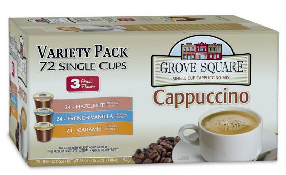Grove Square Cappuccino Variety Pack 72 Count K Cups For