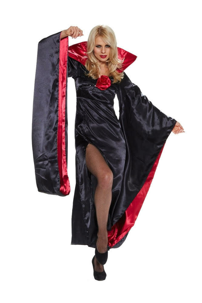 damen kost m lady dracula mit fledermaus rmeln halloween karneval vampir ebay. Black Bedroom Furniture Sets. Home Design Ideas