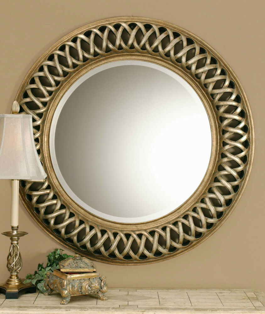 New large 45 round antiqued silver gold wall mirror for Large silver modern mirror