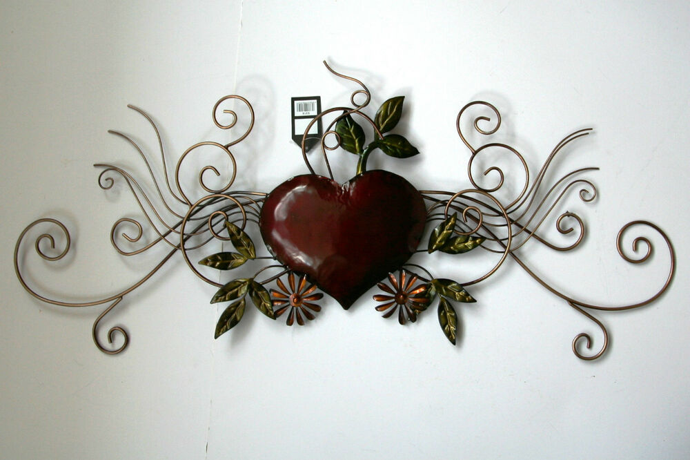 Scroll Design Wall Decor : Metal wall art decor picture heart scroll design new