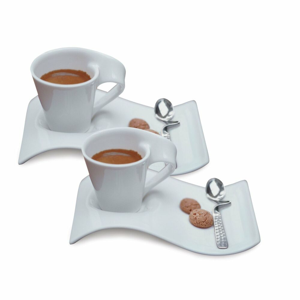 villeroy boch new wave caffe espresso cups saucers and spoons set brand new ebay. Black Bedroom Furniture Sets. Home Design Ideas