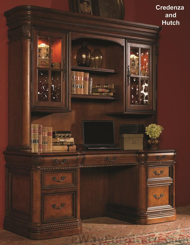 Warm Cherry Executive Desk Home Office Collection: Vineyard Credenza Desk With Hutch Office Computer Wood