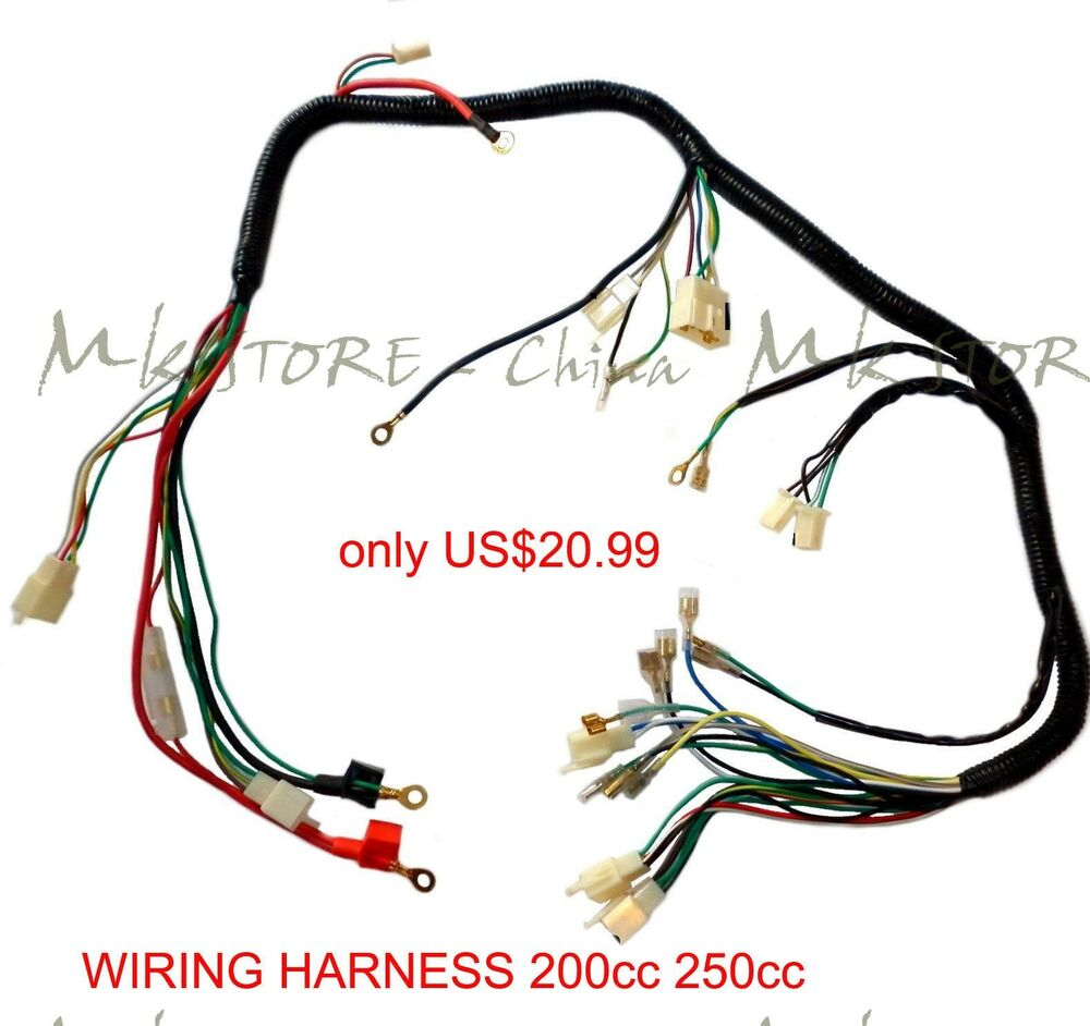 QUAD WIRING HARNESS 200 250cc Chinese Electric start Loncin zongshen ducar  Lifan | eBay
