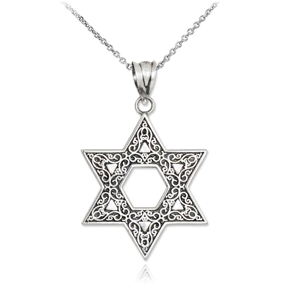 Vintage oxidized sterling silver star of david ornament for Star of david necklace mens jewelry