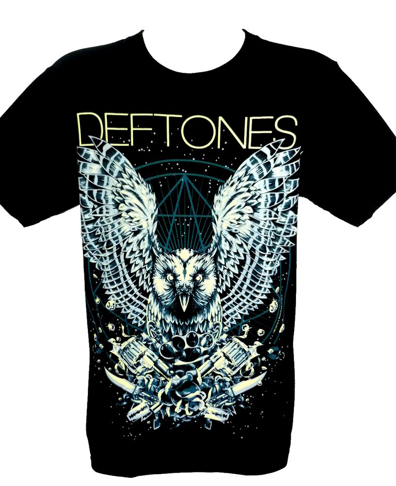 Deftones owl guns t shirts rock band 100 cotton preshrunk T shirt with owl design