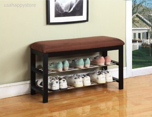 Storage bench entryway shoe rack organizer shelf seating furniture space saver ebay - Shoe racks for small spaces collection ...