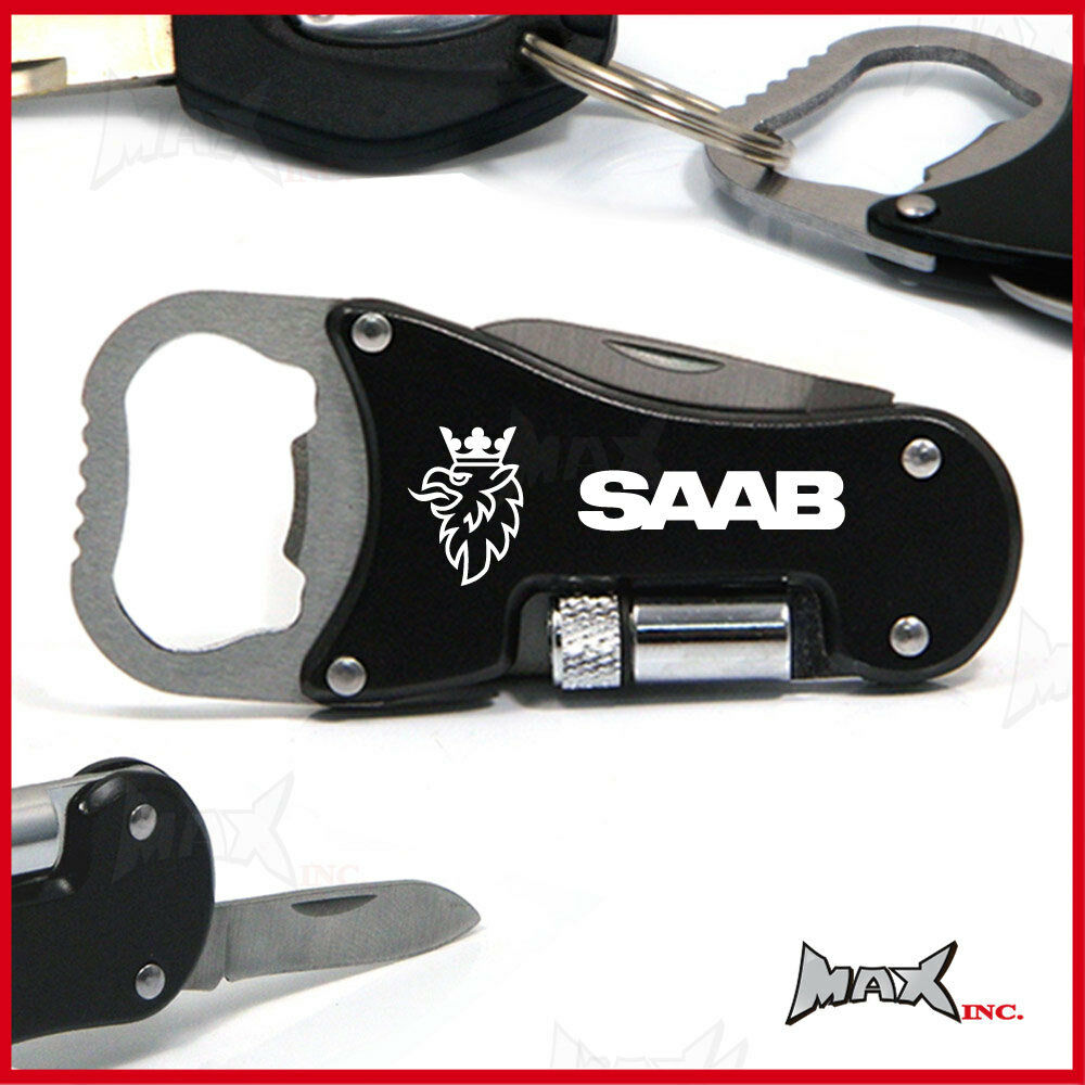 saab lasered logo keyring pocket knife led torch bottle opener ebay. Black Bedroom Furniture Sets. Home Design Ideas
