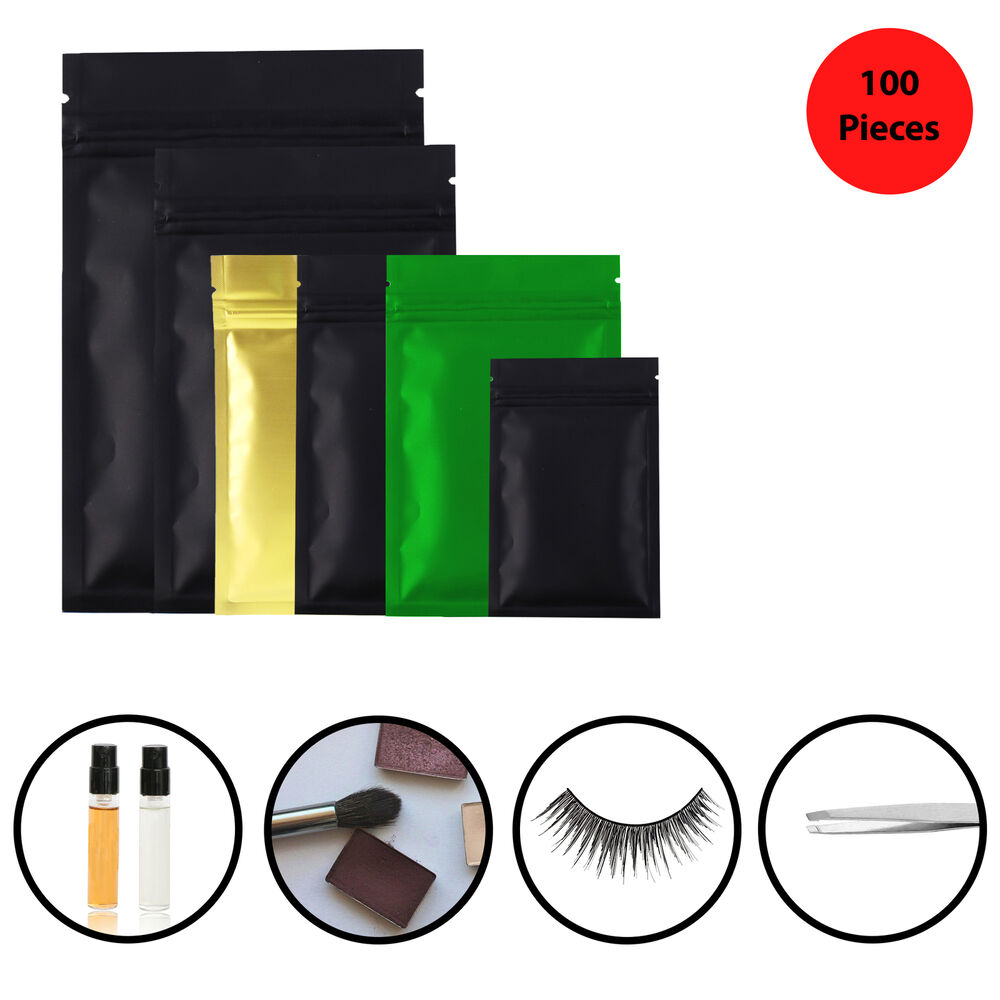 many different sizes for 100 flat black metallic mylar zip lock bags ebay. Black Bedroom Furniture Sets. Home Design Ideas