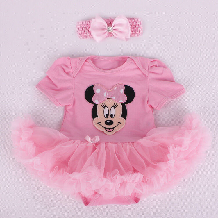 Newborn Infant Baby Girl Pink Minnie Mouse Romper Dress