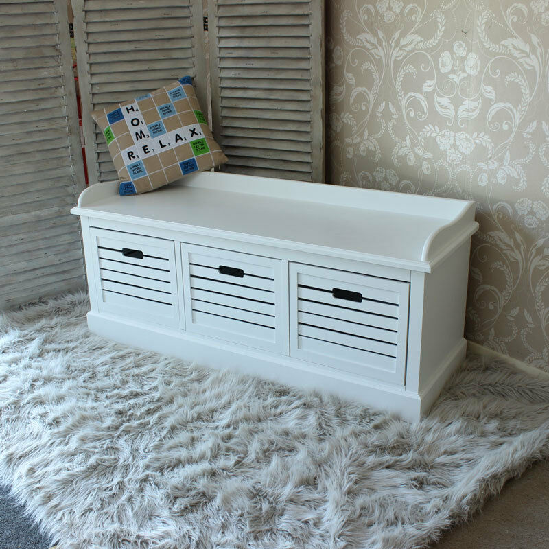 White Storage Bench With 3 Drawers Hall Unit Crate Wood