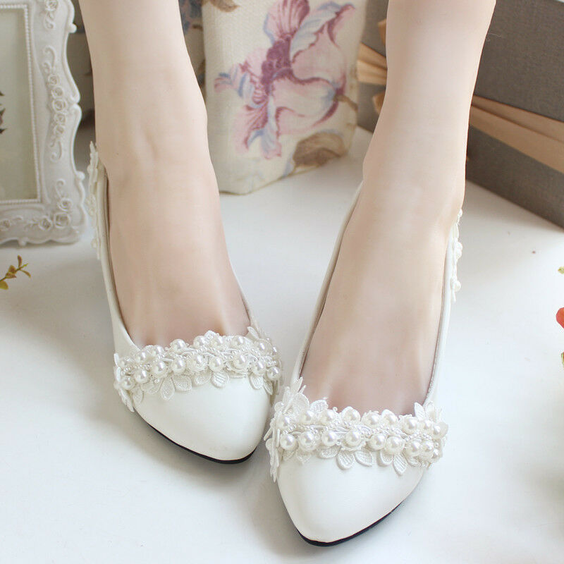 Ivory Pearl Flower Wedding Lace Prom Bridal Bridesmaid Flat High Low Heels Shoes