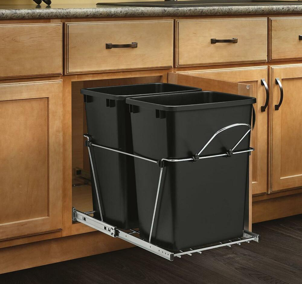Kitchen Garbage Can Cabinet: Pull Out Trash Garbage Can Waste Container Kitchen Cabinet