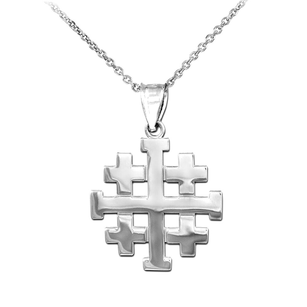polished sterling silver jerusalem crusaders cross. Black Bedroom Furniture Sets. Home Design Ideas