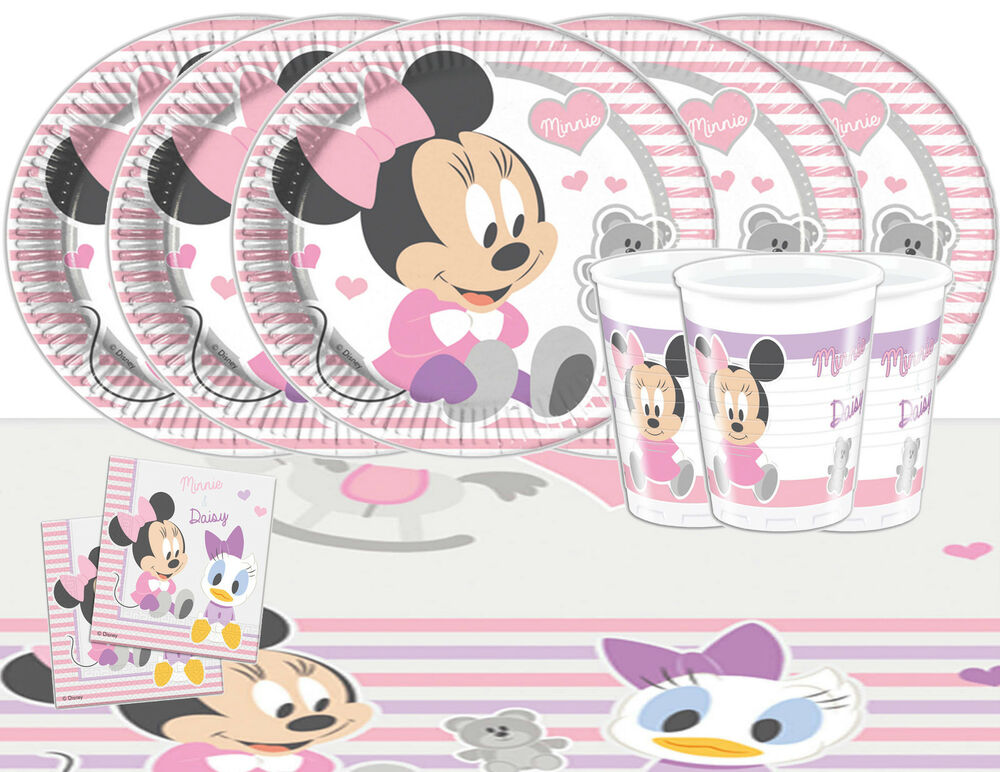 Baby minnie mouse party tableware pack for 16 kids for 1st birthday party decoration packs