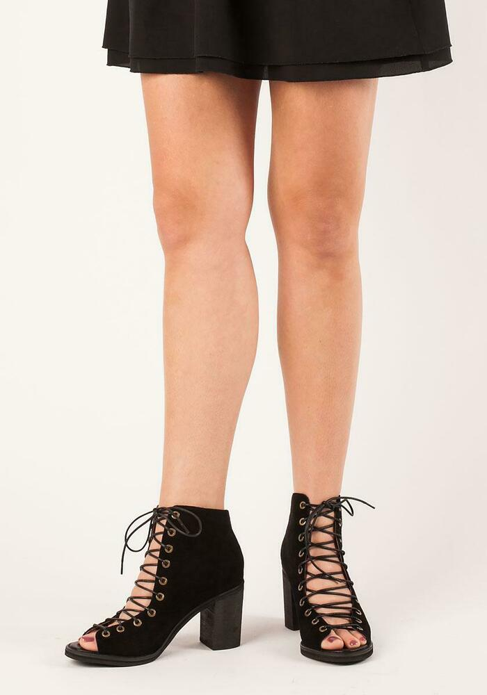 f2c07a823 Details about JEFFREY CAMPBELL CORS BLACK SUEDE PEEP TOE LACE UP THICK HEEL  RETRO ANKLE BOOTIE