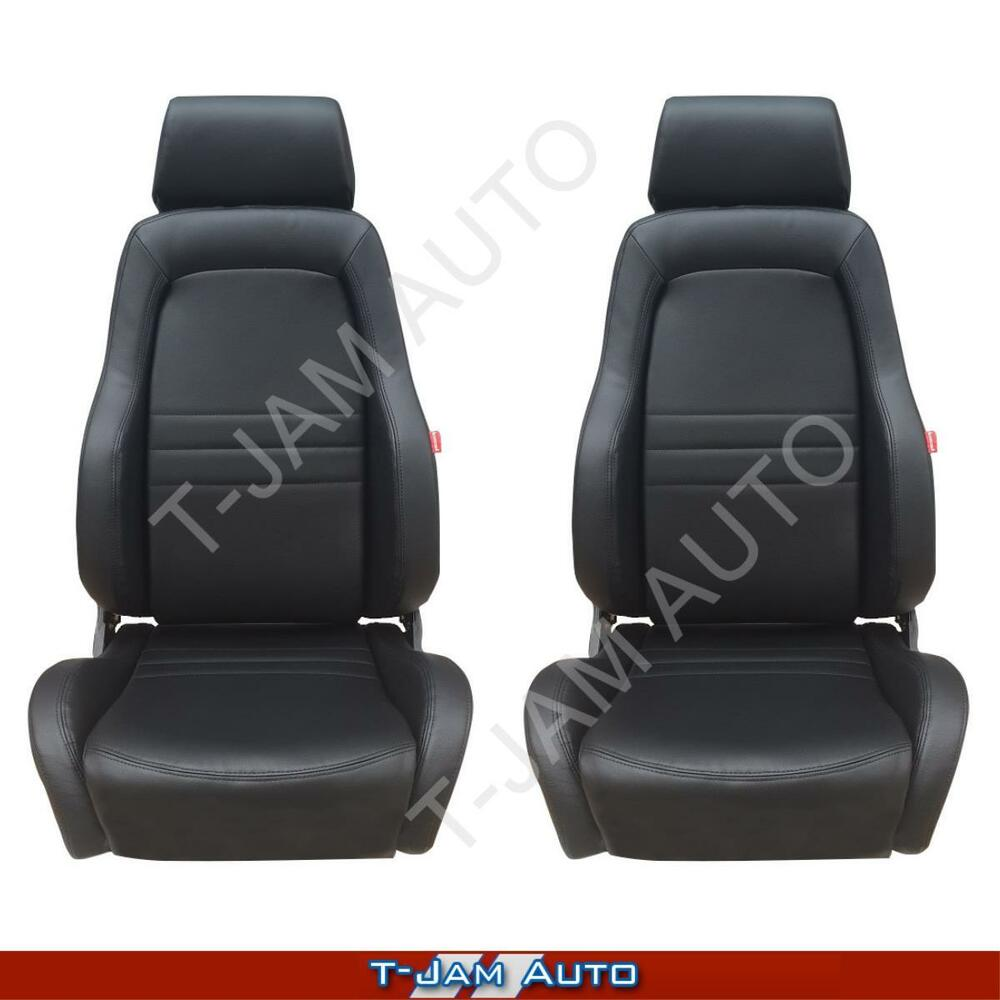 adventurer 4x4 4wd bucket seat pair 2 x black leather adr approved landcruiser ebay. Black Bedroom Furniture Sets. Home Design Ideas