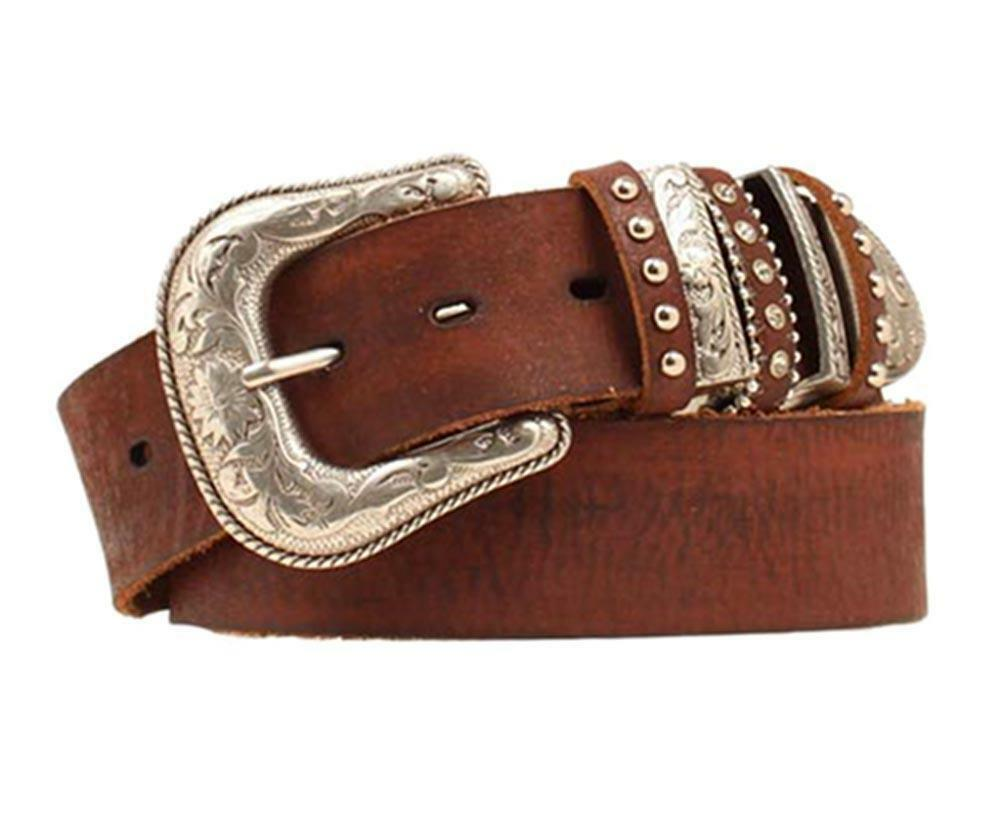 nocona western womens belt leather multi keeper brown