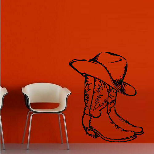 Wall Decal Boots Hat Cowboy Texas Stetson Ranch Mexico