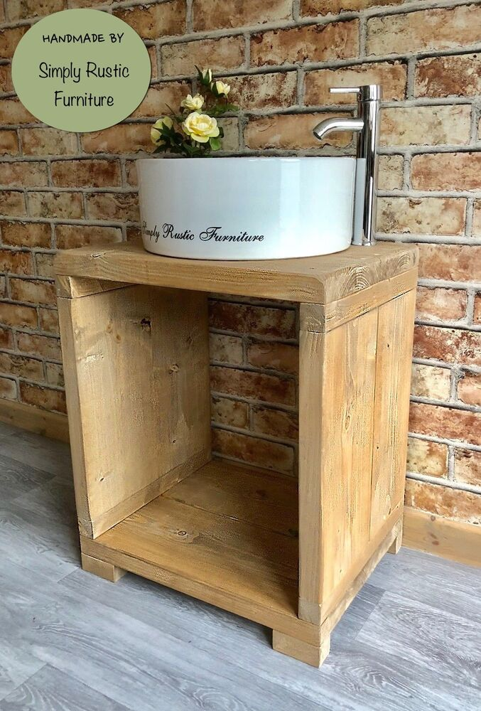 Solid Beam Basin Vanity Unit Wash Stand Rustic Furniture