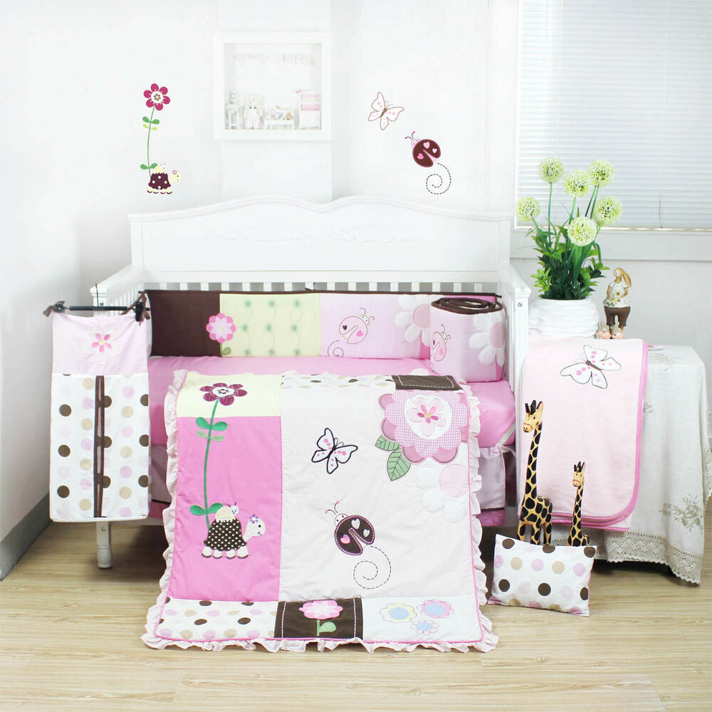 8 Pieces Beautiful Pink Flower Baby Girls Crib Cot Bedding