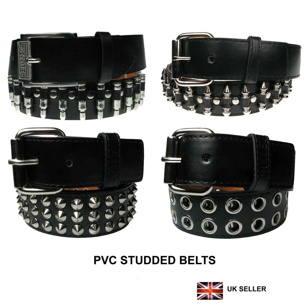 38mm Gothic Punk Design Studded Pvc Belt Removable Buckle