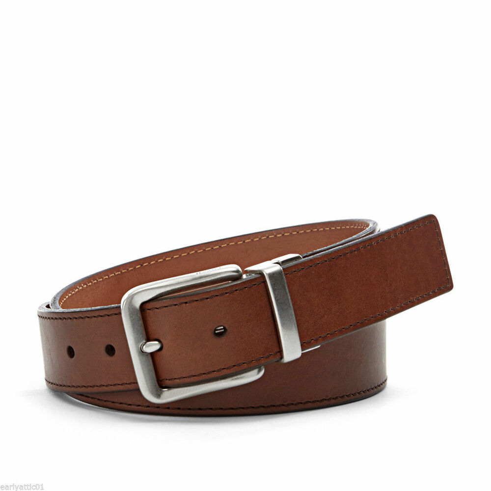 s fossil brown leather silver buckle belt quot sedrick