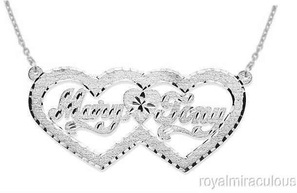 personalized double heart satin diamond cut nameplate. Black Bedroom Furniture Sets. Home Design Ideas