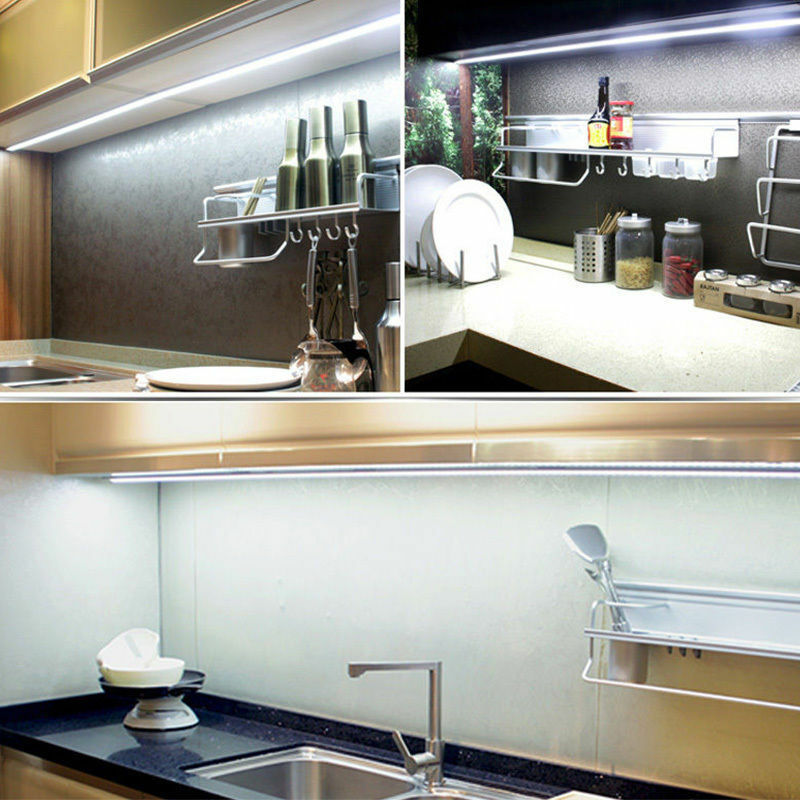 4pcs bar kitchen under cabinet counter led night light energy saving 2 colors ebay - Suitable colors kitchen energy ...