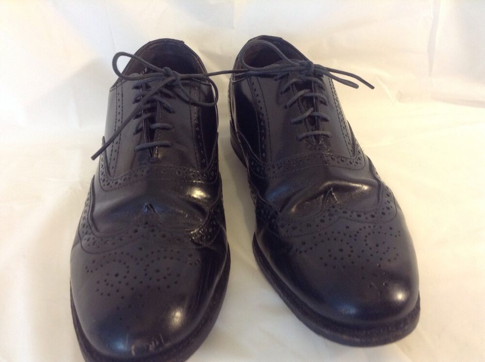 s solid black leather oxford dress shoes size 9