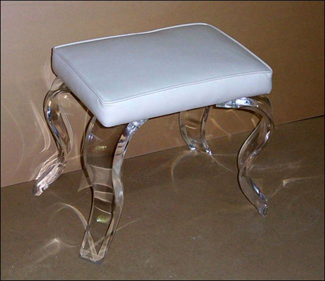 New elegant classy lucite rectangular vanity stool lots of cushion color ebay - Acrylic vanity chair ...