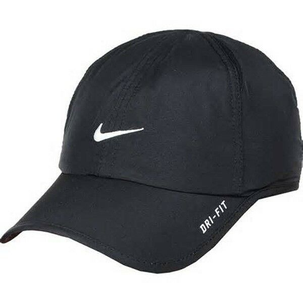 Details about New Nike FeatherLight lite Cap Hat Dri Fit Running Tennis  595510-010 Black White ecbb5438ee0