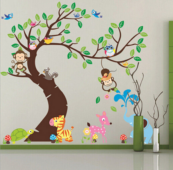 Animals tree monkey removable wall decal stickers kids for Baby room sticker decoration