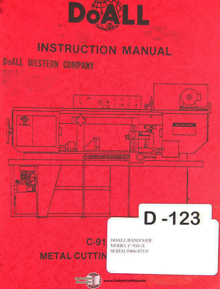 doall c 916 a band saw operations electric hydraulic and parts rh ebay com Procedure Manual Instruction Manual Clip Art