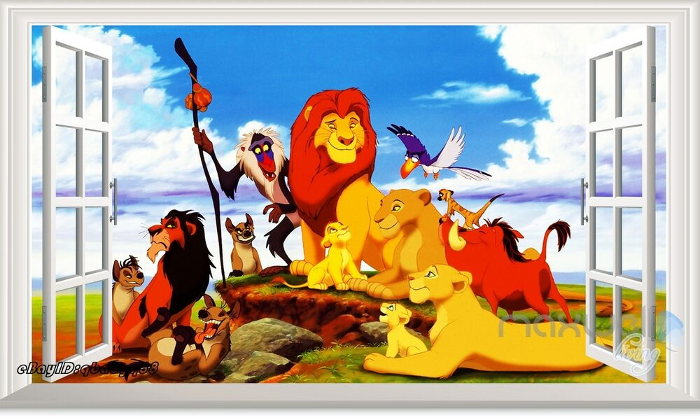 disney lion king 3d window wall sticker removable kids decals art ebay. Black Bedroom Furniture Sets. Home Design Ideas