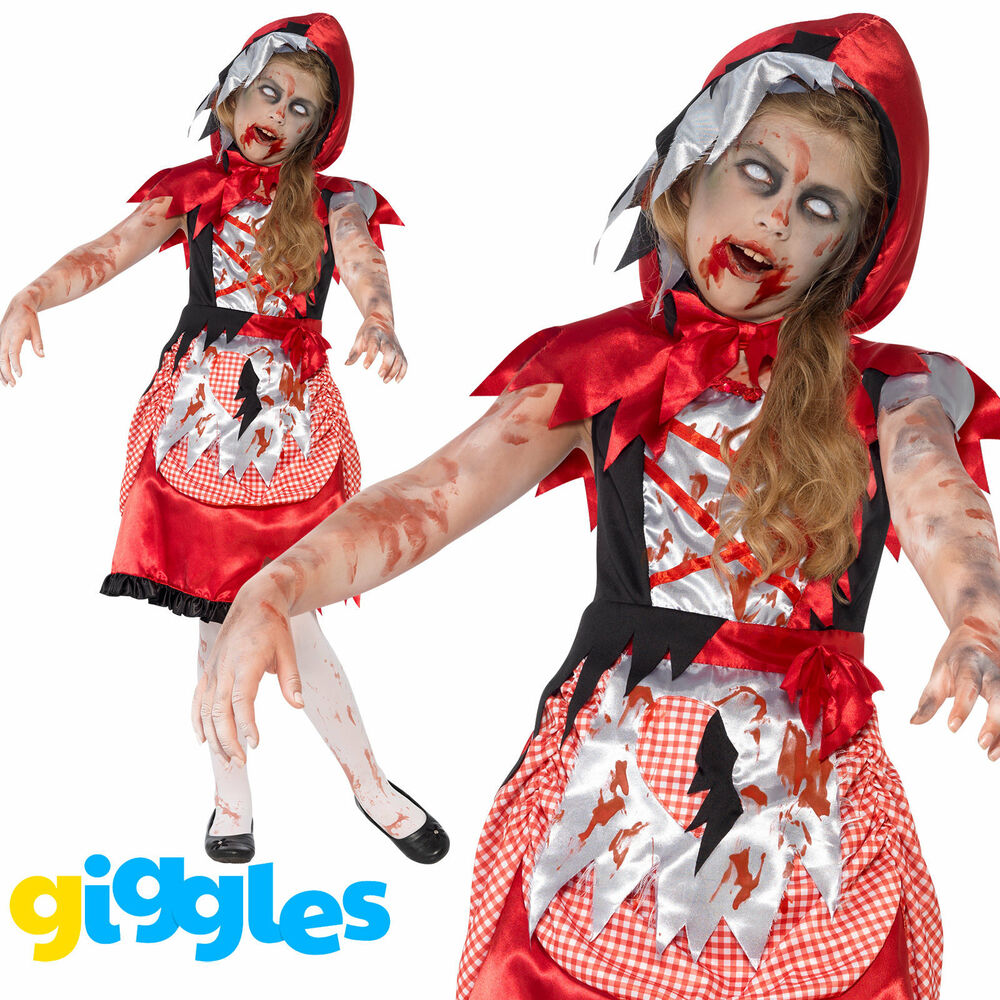 Girls Zombie Little Red Riding Hood Costume Halloween Fancy Dress Cape Outfit  Ebay-3949