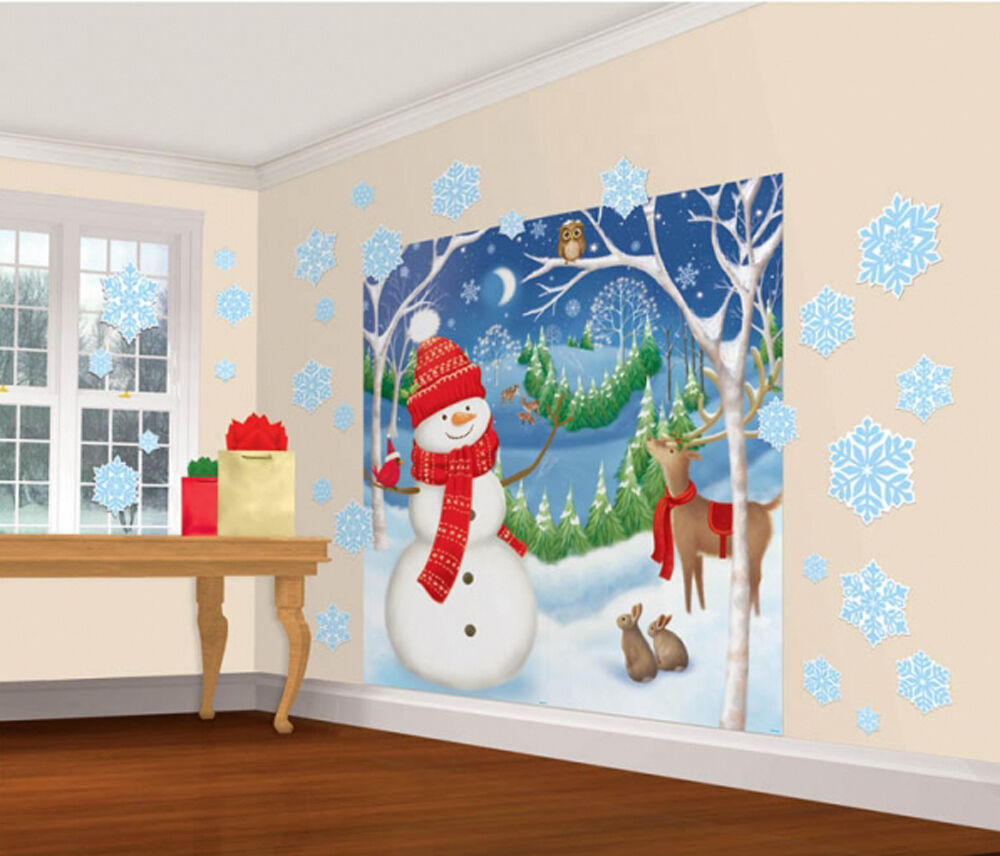 Christmas Wall Scene Decorations : Christmas snowman party decoration wall