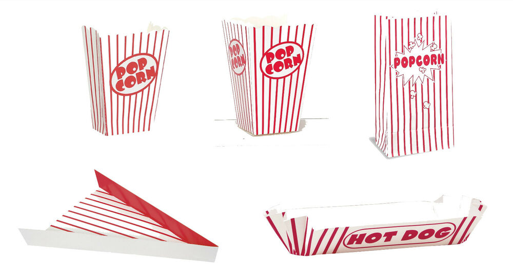 retro food party containers red striped coloured pizza hot dog popcorn boxes ebay. Black Bedroom Furniture Sets. Home Design Ideas