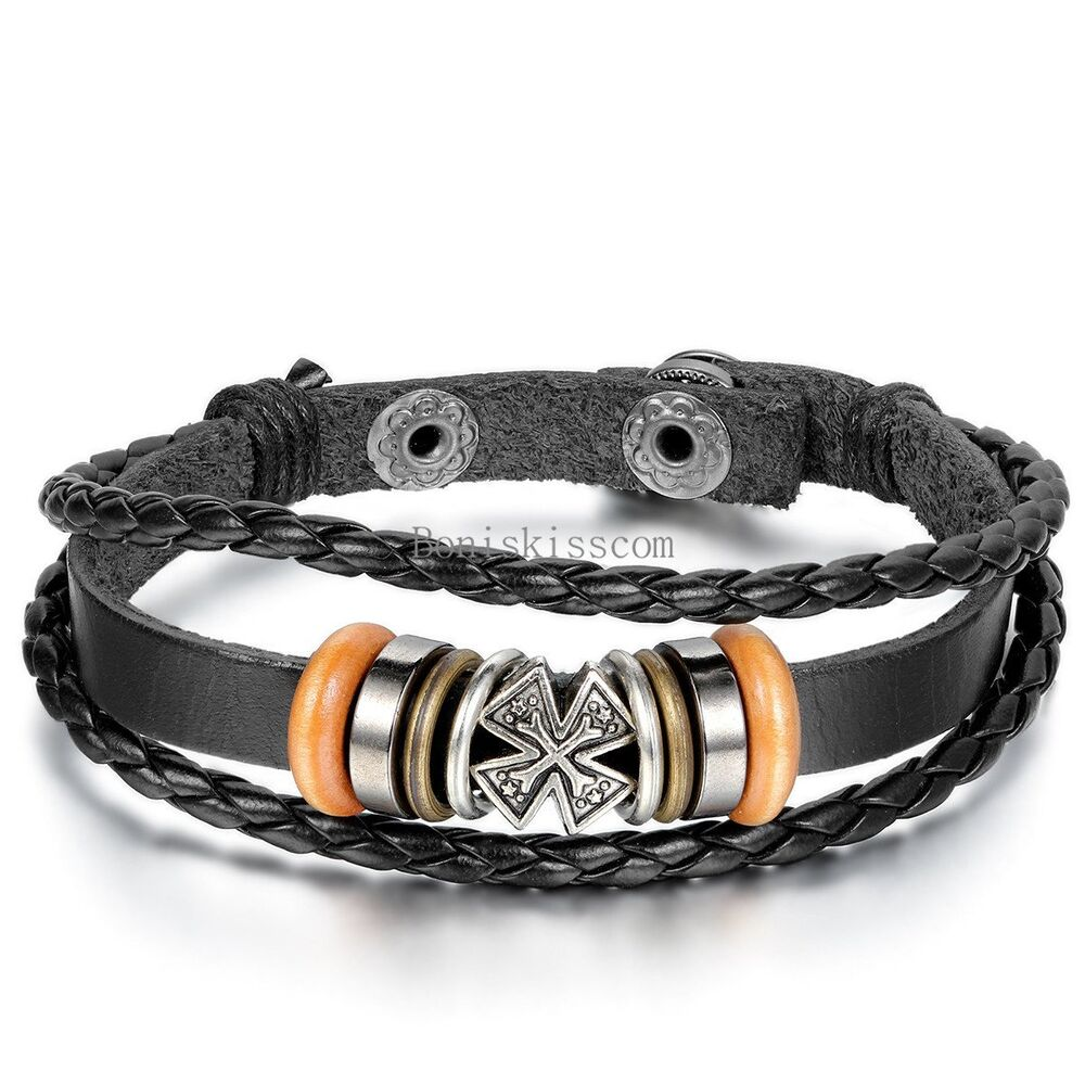 Leather Wrap Bracelet With Charms: Celtic Cross Wrist Band Bracelet Multi Wrap Leather Black