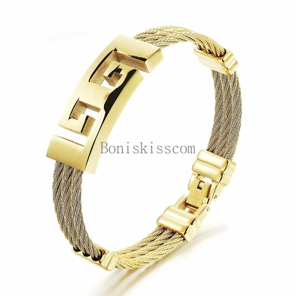 Men s fashion stainless steel yellow gold tone cable charm bracelet