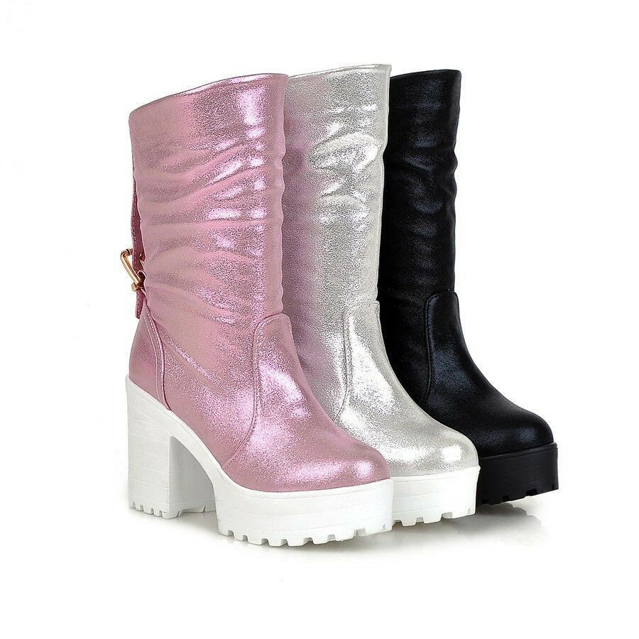 plus size womens vintage mid calf boots pull on chunky