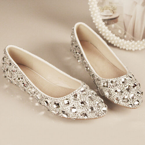 Bridal Shoes Silver: Silver Bling Bridal Wedding Crystal Low Heel Flat