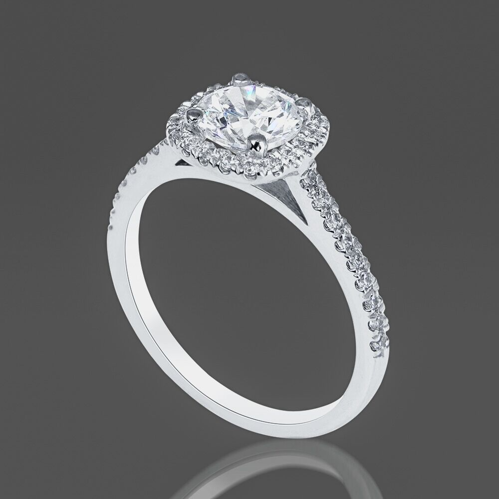 1 ct diamond engagement ring round cut f si 14k white gold. Black Bedroom Furniture Sets. Home Design Ideas