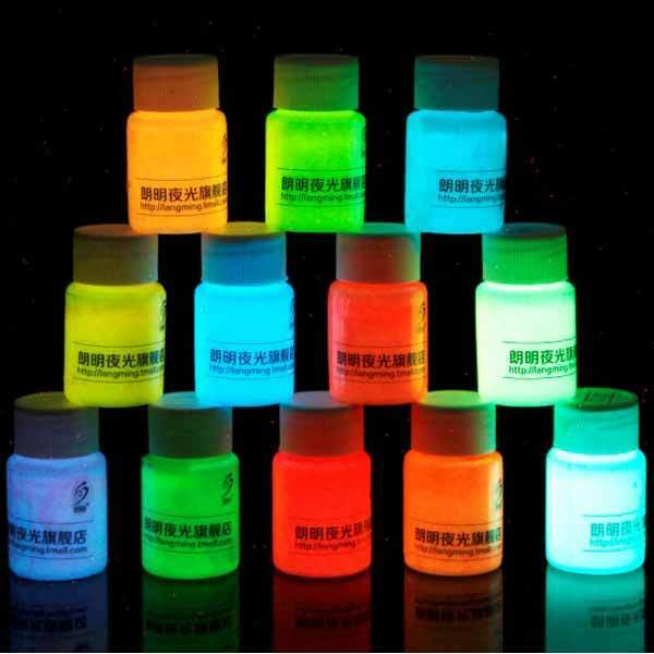 10ml high quality 12 colors acrylic glow in the dark paint - Glow in the dark paint colors ...