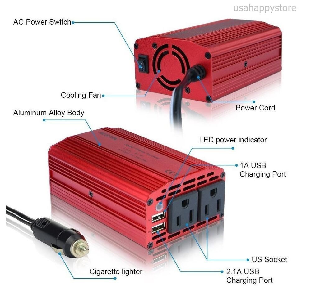 car power inverter charger dc to ac adapter outlet usb. Black Bedroom Furniture Sets. Home Design Ideas